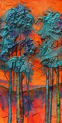 Summer Love mixed media textured trees Carol Nelson Fine Art, painting by artist Carol Nelson