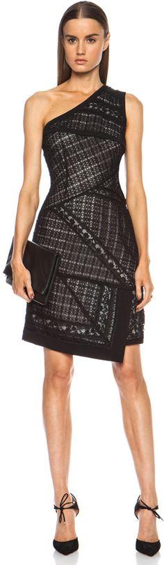 J. Mendel Asymmetrical One Shoulder Viscose Dress in Black