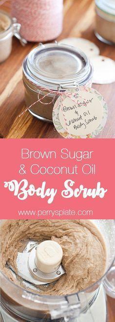 Brown Sugar & Coconut Oil Body Scrub | homemade body scrub | DIY scrub recipe | perrysplate.com #whippedbodyscrub #sugarbodyscrub