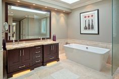 Master ensuite of a private residence in Whiterock, BC. Countertops by Patra Stone Works Ltd. Cabinets by Kitchen Art Design. Kitchen Art, Corner Bathtub, Natural Stones, Bathroom Ideas, Countertops, Cabinets, Bathrooms, Relax, Projects
