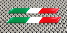 ITALY ITALIA WIDE FLAG 3D DOMED Decal Sticker Pair 3  x 0.5