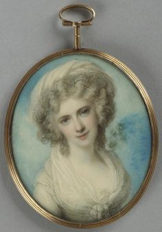 Maria Fitzherbert, circa 1790 by Richard Cosway.  She was the companion, and secretly (and illicitly) the wife of the Prince Regent.  He repudiated her (with conflicted feelings) when he married Caroline of Brunswick, upon which occasion his debts of 600,000 pounds were paid for him.  No official issue; some have claimed to be descended from this union.