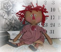Primitive Raggedy Annie cloth doll e-pattern Macey Olive Annie by olive grove primitives  Ask a Question $7.78