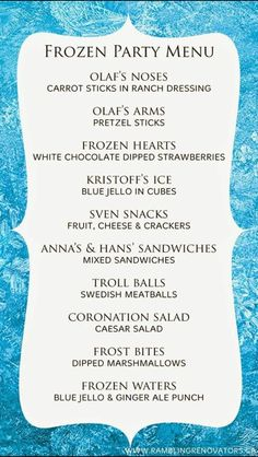 Throwing a Frozen themed birthday party? We have all your Frozen party food, decorations and games covered! Disney Frozen Party, Frozen Party Menu, Olaf Party, Frozen Movie, Olaf Summer Party, Frozen Princess Party, Frozen Party Games, Frozen Stuff, Olaf Frozen