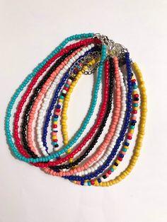 Seed Bead Choker on Mercari Seed Bead Jewelry, Bead Jewellery, Cute Jewelry, Beaded Jewelry, Beaded Bracelets, Beaded Bracelet Patterns, Diy Crafts Jewelry, Bracelet Crafts, Beaded Choker