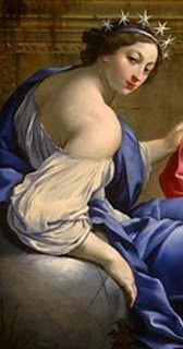 """Urânia-Seu nome vem do grego 'Ouranos', """"céu"""". Era a Musa da Astronomia. É representada com um vestido azul-celeste, coroada de estrelas, e com ambas as mãos segurando um globo que ela parece medir, ou então tendo ao seu lado uma esfera pousada sobre uma tripeça, e muitos instrumentos de matemática."""