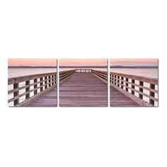Baxton Studio Pier Sunset Mounted Photography Print Triptych ($105) ❤ liked on Polyvore featuring home, home decor, wall art, as picture, decor, sun wall art, sunset picture, photo wall art, pink wall art and contemporary home decor
