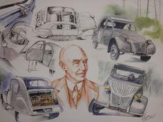 """Pierre Boulanger """"mon grand oncle"""" et la 2CV aquarelle Anne Larose"""