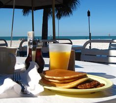 All you can eat pancakes with your toes in the sand at Anna Maria Island Beach Cafe