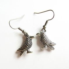 Silver Crow Earrings, Gothic Raven Earrings, Hypoallergenic Jewelry, Surgical Stainless Steel, Gift for Women