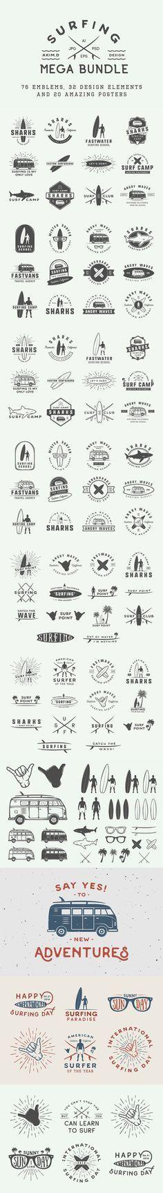 Set of Vintage Surfing Emblems. Download here: https://creativemarket.com/AkimD/721895?u=ksioks
