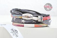 Armband gewickelt aus Leder und Stoff kombiniert in grau und bunt mit Sternen & Magnetverschluss Wickelarmband für Frauen