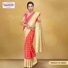 #Kanchivaramsilk #Puresilksarees #Partywear #Onlineshopping #Silksarees #Epiclove #Designersaree #Sareelove Designer Kanchivaram silk saree with pink, yellow and fawn checks woven with kuttu contrast plain beige border & pure zari line on top and khaki strip with simple pure zari line pallu and with contrast plain beige blouse.  http://www.vijayalakshmisilks.com/yellow-magenta-silk-kanchivaram-functions-party-wear