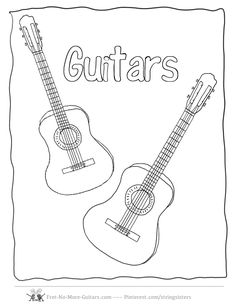 Two Guitar Coloring Page