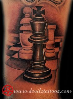 Realism Chess King Tattoo