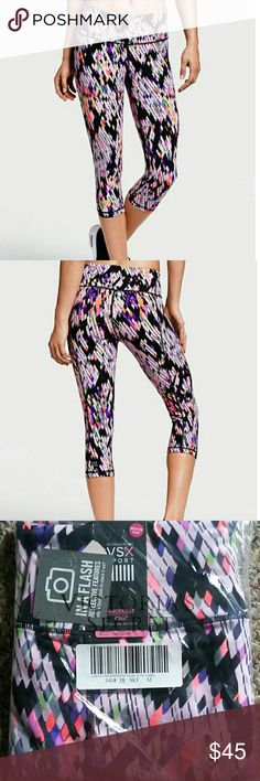 VSX Knockout Crop Pants in Reflective Snake Print Brand new in unopened package. Victoria's Secret Sport Knockout crop pants. Medium rise. Multicolored reflective snake print. Nylon spandex. Body wicking 4-way stretch. Size medium. Victoria's Secret Pants
