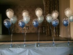 Double bubble christening balloons for a very special little man