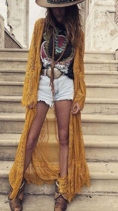 Boho Sommer lange Spitze Jacke Hut Boho summer long lace jacket hat Related Beautiful Casual Summer Outfits Women - what to Cool autumn outfits that always look fantastic for women - Outfit Hot Summer Outfits For Work! - My Style Boho Outfits, Neue Outfits, Fashion Outfits, Country Chic Outfits, Hippie Chic Outfits, Fashion Clothes, Boho Chic Outfits Summer, Country Style, Hat Outfits