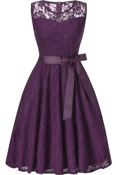 875773370fba Women Purple Round Neck Sleeveless Zipper Back Lace Sheer Sexy A Line Dress  - XXL Abiti