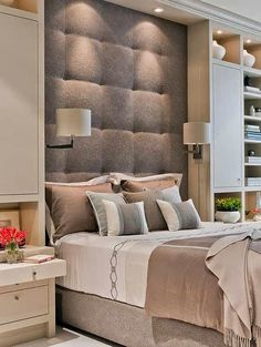Trying To Find DIY Headboard Ideas? There are many economical means to develop an unique one-of-a-kind headboard. We share a few great DIY headboard ideas, to inspire you to design your room stylish or rustic, whichever you like. Modern Bedroom, Contemporary Bedroom, Bedroom Inspirations, Bedroom Interior, Headboard Designs, Modern Bedroom Design, Furniture, Interior Design Bedroom, Headboards For Beds