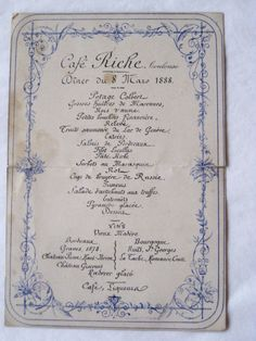 ANTIQUE FRENCH MENU CAFE RICHE TOULOUSE 8 MARS 1888 | eBay