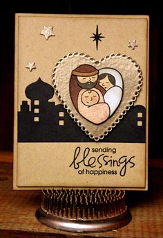 Card by SPARKS DT Larissa Heskett PS stamp sets: A Blessed Christmas, A Holy Holiday; PS dies: Stars