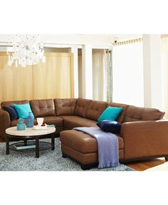 Martino Leather Sectional Living Room Furniture Sets & Pieces - furniture - Macy's