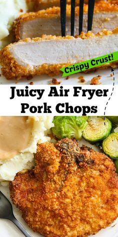 Air Fryer Oven Recipes, Air Frier Recipes, Air Fryer Dinner Recipes, Air Fryer Recipes For Pork Chops, Air Fryer Chicken Recipes, Air Fry Pork Chops, Tender Pork Chops, Breaded Pork Chops, Pork Chop Dinner