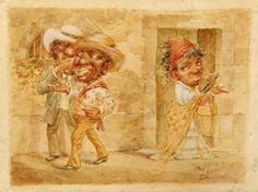 EL Piropo (La Observación flirteos) Víctor Patricio Landaluze ca 1880 tinta y acuarela sobre papel grueso establecidas a bordo de 4 1/4 x 5 1/2 pulgadas 04536