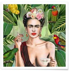 Frida Con Amigos als Premium Poster von Nettsch | JUNIQE