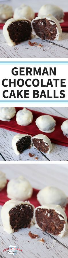I've had cake balls before, but never with a German chocolate cake. I loved it! The coconut pecan frosting mixed with the cake makes for a really moist and rich cake ball.