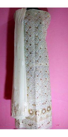 Chikan Suit Fabric With Mukaish Work Code: 2139