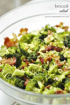Broccoli Salad - lighter version, made with oil and vinegar instead of mayo...I'd probably try something besides canola