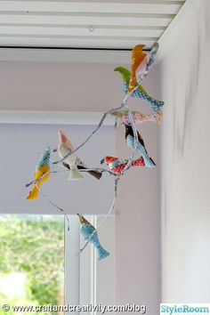 """clever, like this for a sunroom, child""""s room, breakfast nook, or wherever!....Birds on branch"""