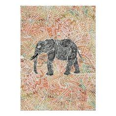 Tribal Paisley Elephant Colorful Henna Pattern