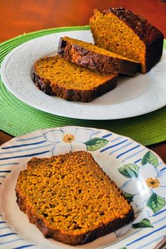 Healthy Pumpkin Bread is made with whole wheat flour, bananas, and honey. Great and good for you.