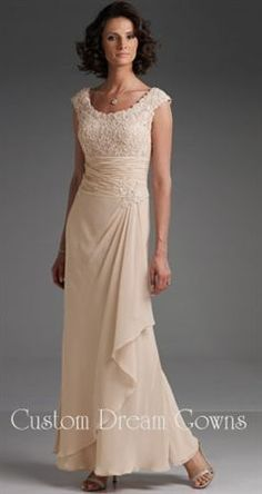 Cameron Blake 110619 by Mon Cheri is a Beautiful Beaded Lace and Chiffon A-Line Gown with a Scoop Neckline, Beaded Lace Cap Sleeves, Elegant Beaded Lace Fitted Bodice, Ruched Waist Adorned by a Beaded Lace Motif, Lightly Padded Bust Cups and Interior Summer Mother Of The Bride Dresses, Mother Of The Bride Gown, Mother Of Groom Dresses, Mothers Dresses, Champagne Evening Gown, Evening Gowns, Plus Size Vintage Dresses, Professional Dresses, Cap Dress