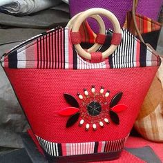 African fabric basket handbag