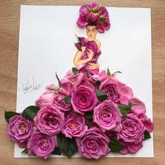 Pink roses fashion art dress by Edgar Artis. Arte Fashion, Paper Fashion, Floral Fashion, Art Floral, Flower Petals, Flower Art, Moda 3d, Creative Artwork, Flower Dresses