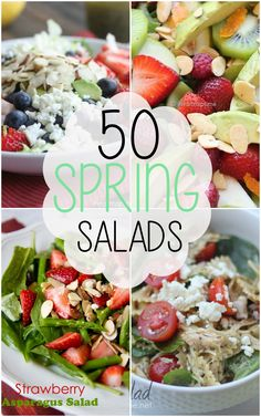 50 BEST Spring Salads by Cooking with Crystal for I Heart Nap Time. I am so excited to be sharing these 50 Spring Salad recipes with you today! Spring is one of my favorite times of the year, Think Food, I Love Food, Food For Thought, Good Food, Yummy Food, Healthy Salads, Healthy Eating, Healthy Recipes, Yummy Recipes