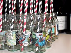 Super Hero and Villians Party by Little Big Company with Comic strips from Comic Books on mini milk bottles