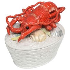 View this item and discover similar for sale at - Exquisite white basket weave tureen topped with shells and finely detailed lobster. Walking The Plank, Serving Dishes, Dining Furniture, Basket Weaving, Shells, Entertaining, Antiques, Lobsters, Beach Houses