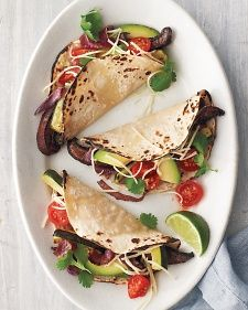 Roasted vegetables make fine fillings for meat-free tacos; besides the ones used here, try corn, bell peppers, other types of mushrooms, and any type of squash or potato. Vegetarian Tacos, Vegetarian Recipes, Veggie Tacos, Vegetarian Mexican, Vegetarian Sandwiches, Portobello, Hamburgers, Stuffed Mushrooms, Stuffed Peppers