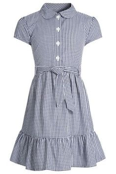 Belted Gingham Shirt Dress Tween - No to the gingham print, yes to the rest of it, especially the color.