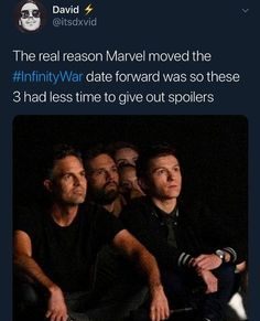 tbh tho: tom holland, sebastian stan, and mark ruffalo are such spoilers lol
