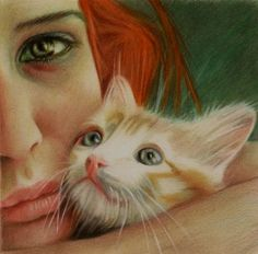Brian Scott [Briscott] British painter, a self-taught, uses colored pencils, unique perspective, and captivating subjects to create stunning work. Neko, Brian Scott, Portrait Illustration, Cat Art, Female Art, Pencil Drawings, Colored Pencils, Portraits, The Incredibles
