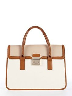 DKNY Vintage Leather Satchel w/ Classic Pushlock- classic for work