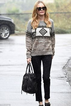 Kate Bosworth wearing Isabel Marant Remington Intarsia Alpaca-Blend Sweater, She + Lo Next Chapter Satchel in Black Perf and Matisse X Kate Bosworth Judith Star Studded Mules
