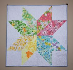 star quilt by heather pk, via Flickr    kit available in my shop https://www.etsy.com/listing/127774300/vintage-sheet-starflower-quilt-kit?ref=shop_home_active