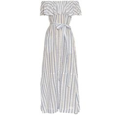Lisa Marie Fernandez Mira off-the-shoulder striped maxi dress (£685) ❤ liked on Polyvore featuring dresses, blue stripe, white off the shoulder dress, off shoulder ruffle dress, stripe dresses, blue maxi dress and maxi dresses